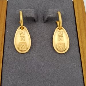 Anne Klein Gold Hoop Lion Earrings